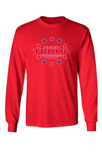 American Patriots Apparel Red / XLARGE / FRONT Unisex Trump Stars & Stripes Long Sleeve Shirt