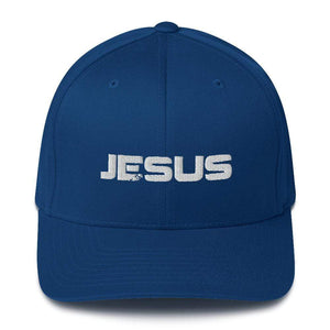 American Patriots Apparel Royal Blue / S/M JESUS White Text Flexfit Structured Twill Hat (7 Variants)