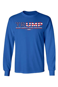 American Patriots Apparel RoyalBlue / SMALL / FRONT Unisex Trump USA Make America Even Greater Long Sleeve Shirt