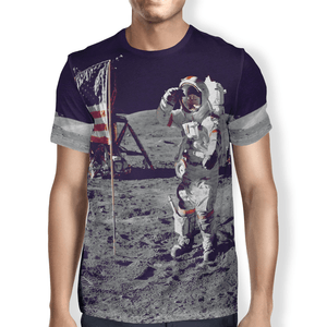 American Patriots Apparel S / Grey Moon Walk Men's T-Shirt