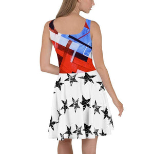 American Patriots Apparel Skater Dress Red White and Blue Puzzle Pattern Rear Stars Skater Dress