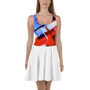 American Patriots Apparel Skater Dress XS / Red/White/Blue Red White and Blue Puzzle Pattern Rear Stars Skater Dress