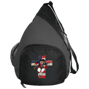 CustomCat Sling Pack Black/Dark Charcoal / One Size American Patriots for God and Country Cross Logo BG206 Active Sling Pack (4 Variants)