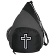 Load image into Gallery viewer, CustomCat Sling Pack Black/Dark Charcoal / One Size Black & White Cross BG206 Active Sling Pack (4 Variants)
