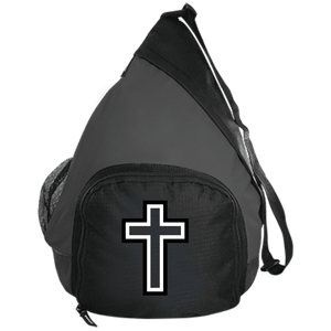 CustomCat Sling Pack Black/Dark Charcoal / One Size Black & White Cross BG206 Active Sling Pack (4 Variants)