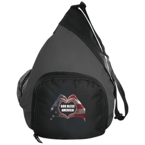 CustomCat Sling Pack Black/Dark Charcoal / One Size God Bless America Heart Hands BG206 Active Sling Pack (4 Variants)