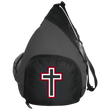 Load image into Gallery viewer, CustomCat Sling Pack Black/Dark Charcoal / One Size Red and White Cross BG206 Active Sling Pack (4 Variants)