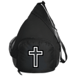 Load image into Gallery viewer, CustomCat Sling Pack Black / One Size Black & White Cross BG206 Active Sling Pack (4 Variants)