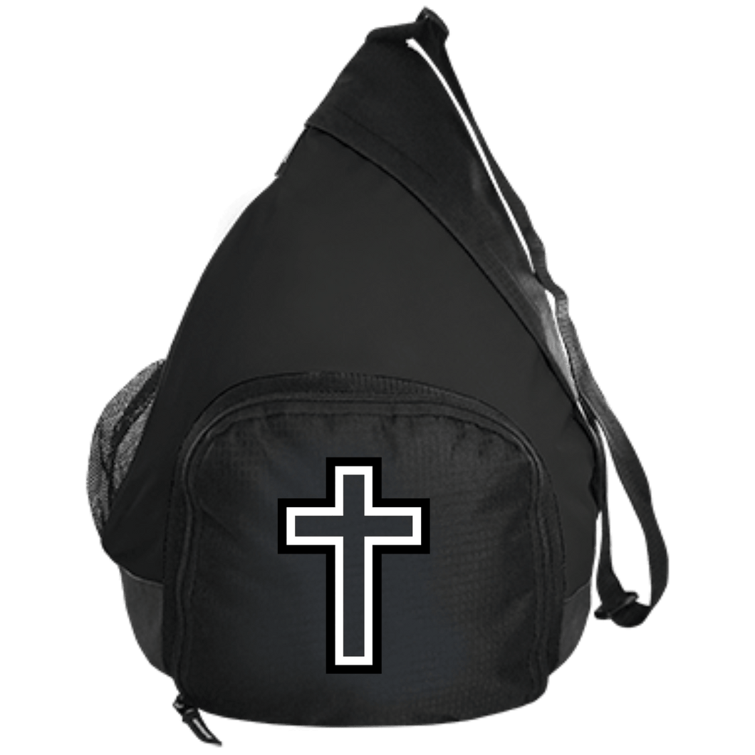 CustomCat Sling Pack Black / One Size Black & White Cross BG206 Active Sling Pack (4 Variants)