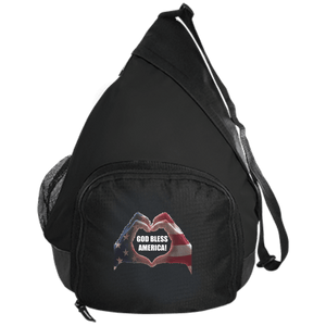 CustomCat Sling Pack Black / One Size God Bless America Heart Hands BG206 Active Sling Pack (4 Variants)