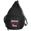 Load image into Gallery viewer, CustomCat Sling Pack Black / One Size Jesus Loves You Heart BG206 Active Sling Pack (4 Variants)