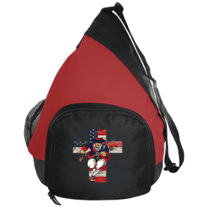 CustomCat Sling Pack Black/True Red / One Size American Patriots for God and Country Cross Logo BG206 Active Sling Pack (4 Variants)