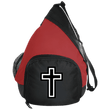 Load image into Gallery viewer, CustomCat Sling Pack Black/True Red / One Size Black & White Cross BG206 Active Sling Pack (4 Variants)