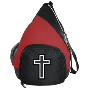 CustomCat Sling Pack Black/True Red / One Size Black & White Cross BG206 Active Sling Pack (4 Variants)