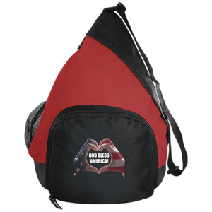 CustomCat Sling Pack Black/True Red / One Size God Bless America Heart Hands BG206 Active Sling Pack (4 Variants)