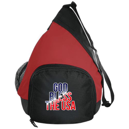 CustomCat Sling Pack Black/True Red / One Size GOD BLESS THE USA BG206 Active Sling Pack (4 Variants)