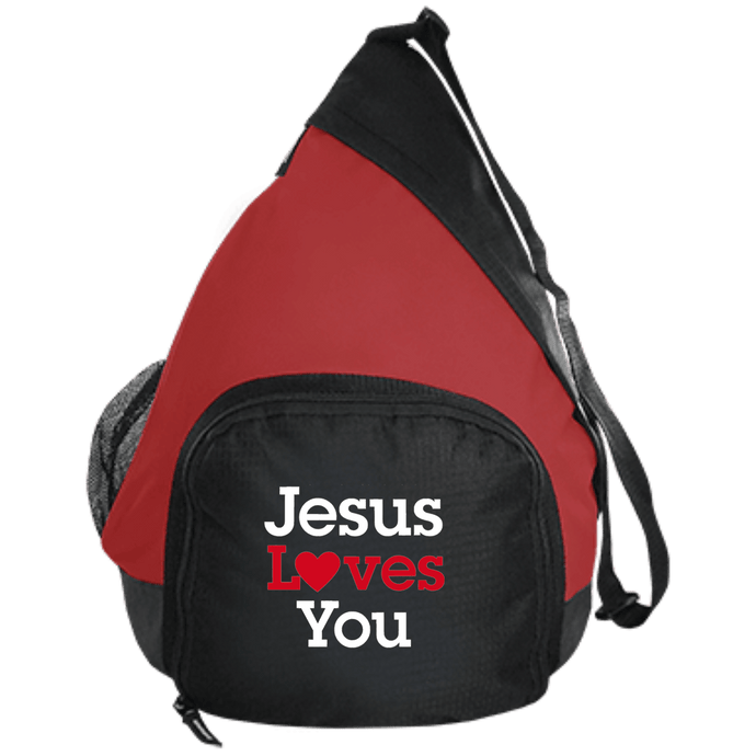 CustomCat Sling Pack Black/True Red / One Size Jesus Loves You Heart BG206 Active Sling Pack (4 Variants)