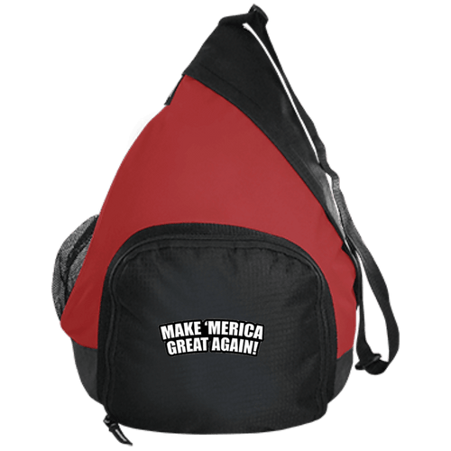 CustomCat Sling Pack Black/True Red / One Size Make 'Merica Great Again BG206 Active Sling Pack (4 Variants)