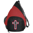 Load image into Gallery viewer, CustomCat Sling Pack Black/True Red / One Size Red and White Cross BG206 Active Sling Pack (4 Variants)