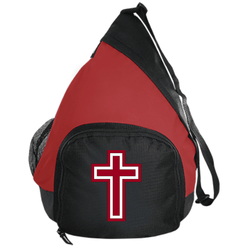 CustomCat Sling Pack Black/True Red / One Size Red & White Cross BG206 Active Sling Pack (4 Variants)