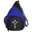 Load image into Gallery viewer, CustomCat Sling Pack Black/True Royal / One Size Black & White Cross BG206 Active Sling Pack (4 Variants)