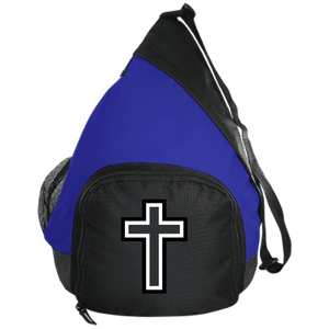 CustomCat Sling Pack Black/True Royal / One Size Black & White Cross BG206 Active Sling Pack (4 Variants)