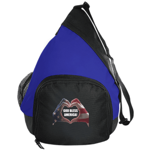 CustomCat Sling Pack Black/True Royal / One Size God Bless America Heart Hands BG206 Active Sling Pack (4 Variants)