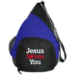 Load image into Gallery viewer, CustomCat Sling Pack Black/True Royal / One Size Jesus Loves You Heart BG206 Active Sling Pack (4 Variants)