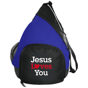 CustomCat Sling Pack Black/True Royal / One Size Jesus Loves You Heart BG206 Active Sling Pack (4 Variants)