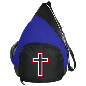 CustomCat Sling Pack Black/True Royal / One Size Red and White Cross BG206 Active Sling Pack (4 Variants)