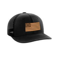 Load image into Gallery viewer, Print Brains Snapback Hat 13 Colonies Leather Patch Hat / Black/Black / One Size 13 Colonies Leather Patch Hat (6 Variants)