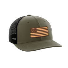Load image into Gallery viewer, Print Brains Snapback Hat 13 Colonies Leather Patch Hat / OD Green/Black / One Size 13 Colonies Leather Patch Hat (6 Variants)