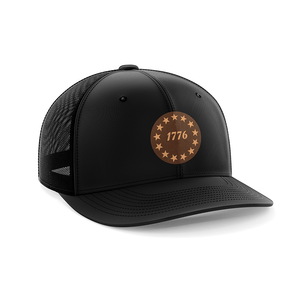Print Brains Snapback Hat 1776 Stars Leather Patch Hat / Black/Black / One Size 1776 Stars Leather Patch Hat (6 Variants)