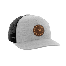Load image into Gallery viewer, Print Brains Snapback Hat 1776 Stars Leather Patch Hat / Heather Gray/Black / One Size 1776 Stars Leather Patch Hat (6 Variants)