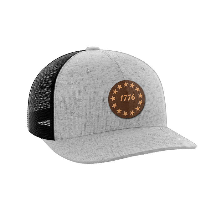 Print Brains Snapback Hat 1776 Stars Leather Patch Hat / Heather Gray/Black / One Size 1776 Stars Leather Patch Hat (6 Variants)