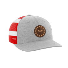 Load image into Gallery viewer, Print Brains Snapback Hat 1776 Stars Leather Patch Hat / Heather Gray/Flag / One Size 1776 Stars Leather Patch Hat (6 Variants)