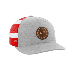 Print Brains Snapback Hat 1776 Stars Leather Patch Hat / Heather Gray/Flag / One Size 1776 Stars Leather Patch Hat (6 Variants)