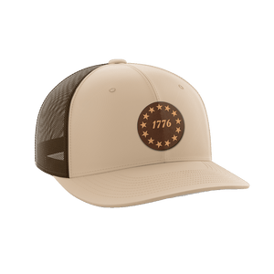 Print Brains Snapback Hat 1776 Stars Leather Patch Hat / Khaki/Coffee / One Size 1776 Stars Leather Patch Hat (6 Variants)
