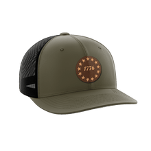 Load image into Gallery viewer, Print Brains Snapback Hat 1776 Stars Leather Patch Hat / OD Green/Black / One Size 1776 Stars Leather Patch Hat (6 Variants)
