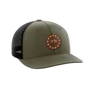 Print Brains Snapback Hat 1776 Stars Leather Patch Hat / OD Green/Black / One Size 1776 Stars Leather Patch Hat (6 Variants)