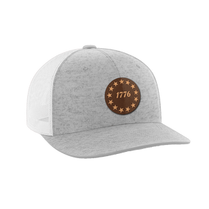 Print Brains Snapback Hat 1776 Stars Leather Patch Hat / White/Deep Heather / One Size 1776 Stars Leather Patch Hat (6 Variants)
