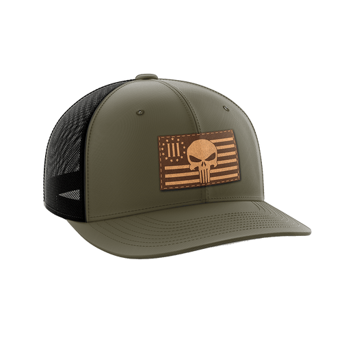 Print Brains Snapback Hat 3 Percenter Leather Patch Hat / OD Green/Black / One Size 3 Percenter Leather Patch Hat (6 Variants)