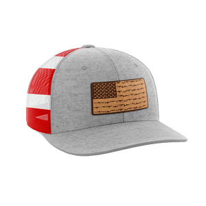 Print Brains Snapback Hat Amerigun Flag Leather Patch Hat / Heather Gray/Flag / One Size Amerigun Flag Leather Patch Hat (4 Variants)