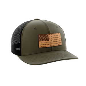 Print Brains Snapback Hat Amerigun Flag Leather Patch Hat / OD Green/Black / One Size Amerigun Flag Leather Patch Hat (4 Variants)