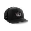 Load image into Gallery viewer, Greater Half Snapback Hat Black/Black / OSFA Build The Wall Black Leather Patch Hat (7 Variants)
