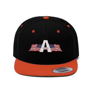 Printify Snapback Hat Black/Deep Orange / One size 'Merica American Patriots Apparel Logo Flat Bill Hat (6 Variants)