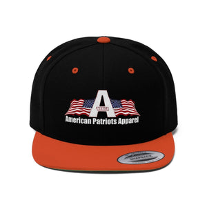 Printify Snapback Hat Black/Deep Orange / One size Merica American Patriots Apparel Logo With White Text Hat (6 Variants)
