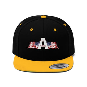 Printify Snapback Hat Black/Gold / One size 'Merica American Patriots Apparel Logo Flat Bill Hat (6 Variants)