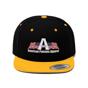 Printify Snapback Hat Black/Gold / One size Merica American Patriots Apparel Logo With White Text Hat (6 Variants)