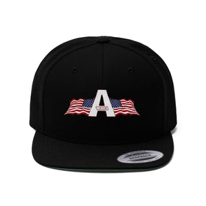 Printify Snapback Hat Black / One size 'Merica American Patriots Apparel Logo Flat Bill Hat (6 Variants)